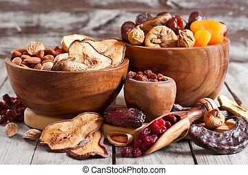 mistura, secado, frutas