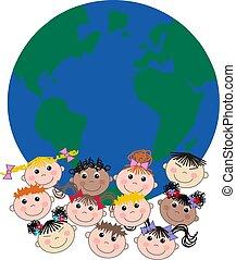 misturado étnico, crianças