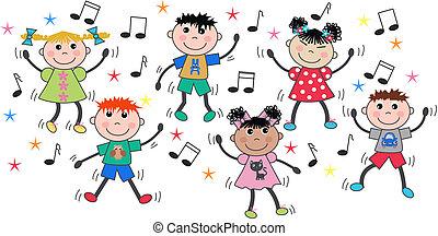 misturado étnico, crianças, dançar, discoteca