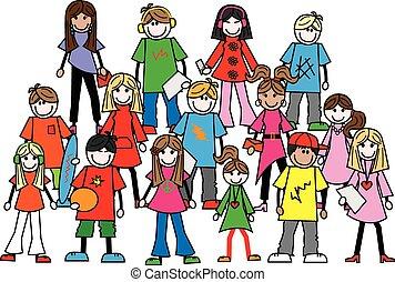 misturado, adolescentes, étnico, jovens