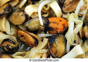 misturado, alimento, mar