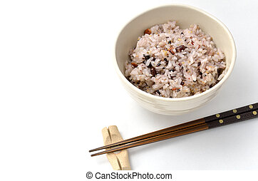 misturado, arroz, tigela, japoneses