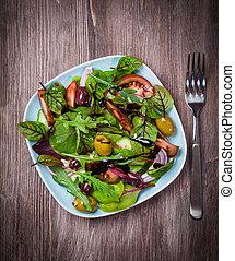 misturado, caloria, baixo, salada