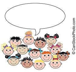 misturado, crianças, étnico