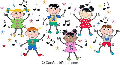 misturado, dançar, crianças, étnico, discoteca