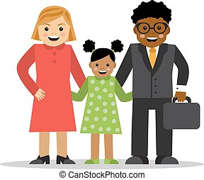 misturado, diferente, raças, família