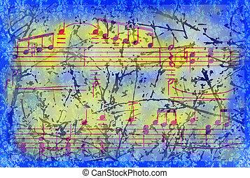 misturado, fundo, com, notas música, sinais