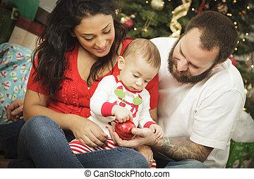 misturado, jovem, retrato, natal, família, raça