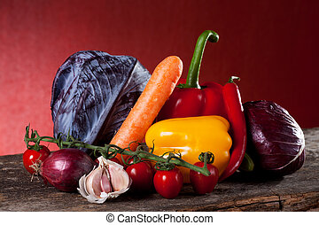 misturado, legumes, madeira