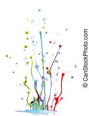 misturado, pintura, cores, respingo