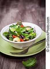 misturado, primavera, salada