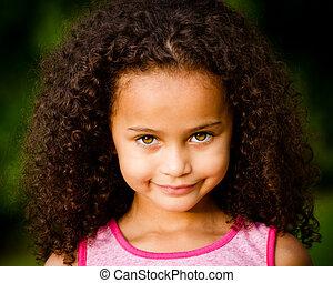misturado, retrato, menina, raça