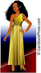misturado, vestido, mulher, ouro