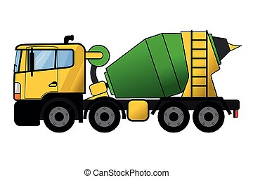 misturador, concreto, caminhão