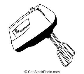 misturador, vetorial, elétrico, ilustração