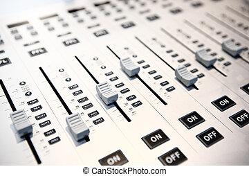 misturando, áudio, console, controles