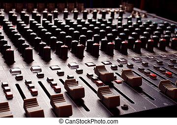 misturando, áudio, console