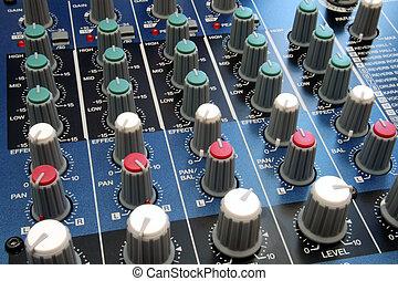 misturando, áudio, escrivaninha