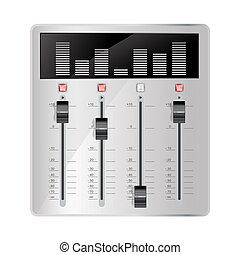 misturando, áudio, painel