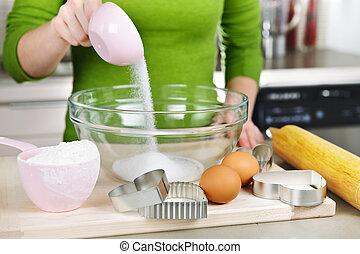 misturando, biscoitos, ingredientes