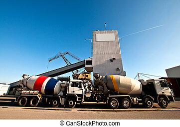 misturando, concreto, caminhão