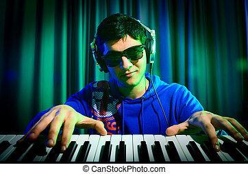 misturando, dj, música, discoteca