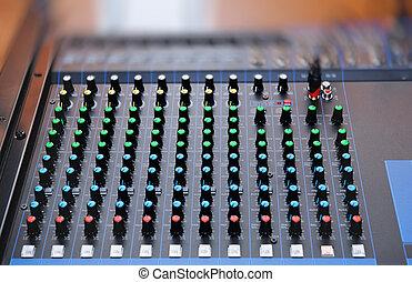 misturando, faders, áudio, console
