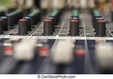 misturando, faders, áudio, console, profissional