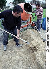 misturando, homens, cimento