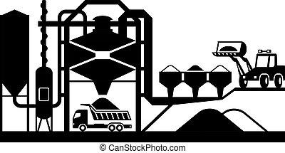 misturando, planta, asfalto
