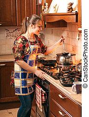 misturando, sopa, panela, dona de casa, ladle