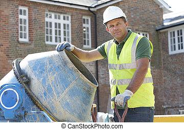 misturando, trabalhador construção, cimento