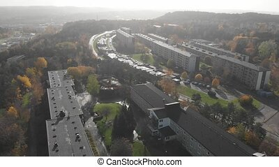 Misty Fall Day at Residential Suburban Area, Aerial Forward