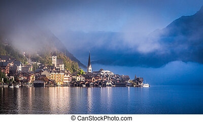 Misty autumn morning in Hallstatt