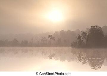 misty autumn sunrise over forest lake