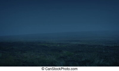 Misty Barren Wilderness At Night - Rugged landscape with...
