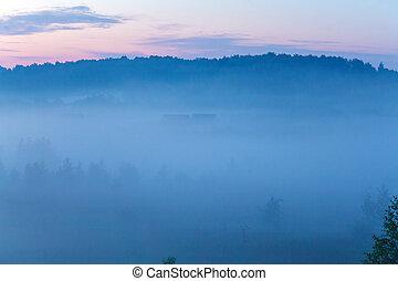 Misty Beautiful Nature Field Background