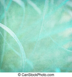 Misty blue grass abstract on paper textured background