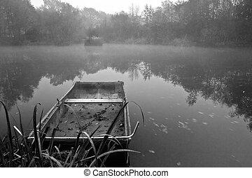 Misty Boat on Lake