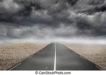 Misty brown landscape with street