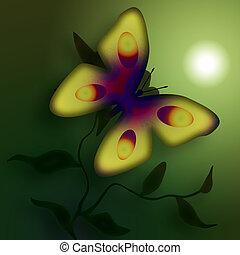 Misty Butterfly - Butterfly on the flower in a misty morning