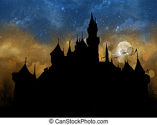 misty castle - fantasy castle in mist