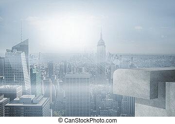 Misty cityscape