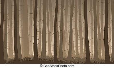 Misty coniferous forest. - Vector horizontal illustration of...
