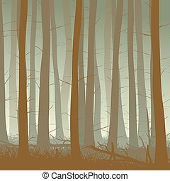 Misty coniferous forest. - Vector square illustration inside...