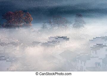 misty countryside landscape in shicheng village