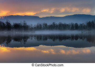 Misty dawn at the river