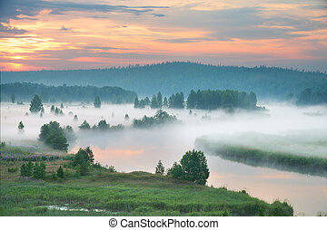Misty dawn on the river