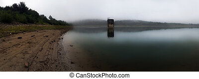 Misty day at the lake panorama