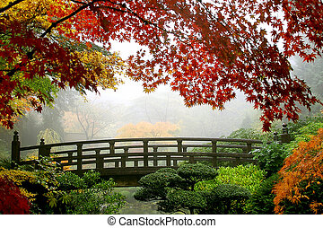 Misty Fall Morning in Portland's Japanese Gardens